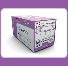"DemeTECH Polyglycolic Acid Sutures 5/0, 18"" 3/8 Circle, 13mm, Colorless, Presicion Reverse Cut"